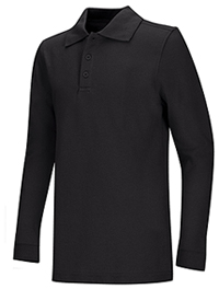 Classroom Uniforms Youth Unisex Long Sleeve Pique Polo Black (58352-BLK)