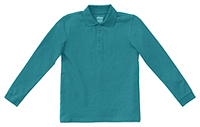 Classroom Youth Unisex Long Sleeve Pique Polo (58352-TEAL) (58352-TEAL)