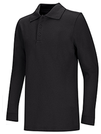 Classroom Uniforms Adult Unisex Long Sleeve Pique Polo Black (58354-BLK)