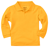 Classroom Uniforms Adult Unisex Long Sleeve Pique Polo Gold (58354-GOLD)