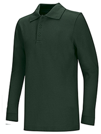 Classroom Uniforms Adult Unisex Long Sleeve Pique Polo Hunter Green (58354-HUN)