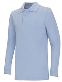 Classroom Uniforms Adult Unisex Long Sleeve Pique Polo Light Blue (58354-LTB)