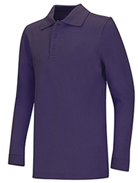 Classroom Uniforms Adult Unisex Long Sleeve Pique Polo Purple (58354-PUR)