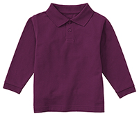 Classroom Adult Unisex Long Sleeve Pique Polo (58354-WINE) (58354-WINE)