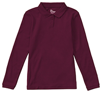 Girls Long Sleeve Fitted Interlock Polo