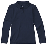 Classroom Uniforms Girls Long Sleeve Fitted Interlock Polo Dark Navy (58542-DNVY)