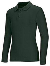 Classroom Uniforms Girls Long Sleeve Fitted Interlock Polo Hunter Green (58542-HUN)