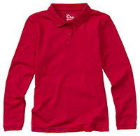 Girls Long Sleeve Fitted Interlock Polo (58542-RED)