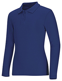 Classroom Uniforms Girls Long Sleeve Fitted Interlock Polo Royal (58542-ROY)