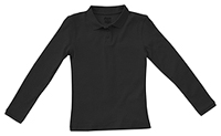 Girls Long Sleeve Fitted Interlock Polo (58542-SSBK)