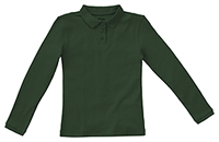 Classroom Uniforms Girls Long Sleeve Fitted Interlock Polo SS Hunter Green (58542-SSHN)
