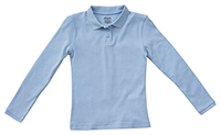 Classroom Uniforms Girls Long Sleeve Fitted Interlock Polo SS Light Blue (58542-SSLB)