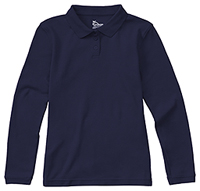Classroom Girls Long Sleeve Fitted Interlock Polo (58542-SSNV) (58542-SSNV)