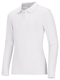Classroom Girls Long Sleeve Fitted Interlock Polo (58542-WHT) (58542-WHT)