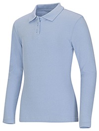 Classroom Uniforms Junior Long Sleeve Fitted Interlock Polo Light Blue (58544-LTB)