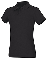 Classroom Uniforms Girls Short Sleeve Fitted Interlock Polo Black (58582-BLK)