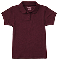 Classroom Uniforms Girls Short Sleeve Fitted Interlock Polo Burgundy (58582-BUR)