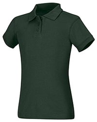 Classroom Uniforms Girls Short Sleeve Fitted Interlock Polo Hunter Green (58582-HUN)