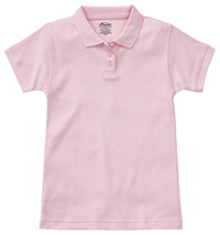 Girls Short Sleeve Fitted Interlock Polo Pink (58582-PINK)