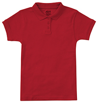Girls Short Sleeve Fitted Interlock Polo Red (58582-RED)