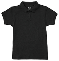 Girls Short Sleeve Fitted Interlock Polo SS Black (58582-SSBK)