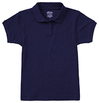 Classroom Uniforms Girls Short Sleeve Fitted Interlock Polo SS Navy (58582-SSNV)