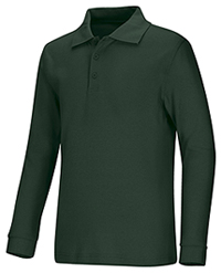 Classroom Uniforms Youth Unisex Long Sleeve Interlock Polo Hunter Green (58732-HUN)