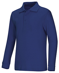 Classroom Uniforms Youth Unisex Long Sleeve Interlock Polo Royal (58732-ROY)