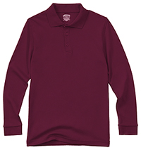 Classroom Uniforms Adult Unisex Long Sleeve Interlock Polo Burgundy (58734-BUR)
