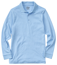 Classroom Uniforms Adult Unisex Long Sleeve Interlock Polo SS Light Blue (58734-SSLB)