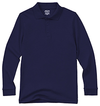 Classroom Adult Unisex Long Sleeve Interlock Polo (58734-SSNV) (58734-SSNV)