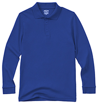 Classroom Uniforms Adult Unisex Long Sleeve Interlock Polo SS Royal (58734-SSRY)