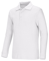 Classroom Adult Unisex Long Sleeve Interlock Polo (58734-WHT) (58734-WHT)