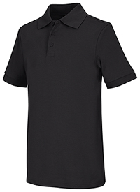 Classroom Uniforms Youth Unisex Short Sleeve Interlock Polo SS Black (58912-SSBK)