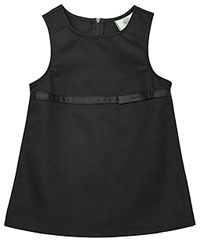 Real School Uniforms Empire Waist Jumper w/Ribbon Bow Black (64000-RBLK)