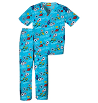 Tooniforms Kids Top and Pant Scrub Set One Two Red Blue (6620C-SEOT)