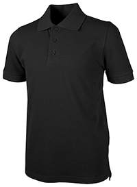 Real School Uniforms Unisex Adult S/S Piuqe Polo Black (68114-RBLK)