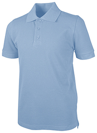 Real School Uniforms Unisex Adult S/S Piuqe Polo Light Blue (68114-RLTB)