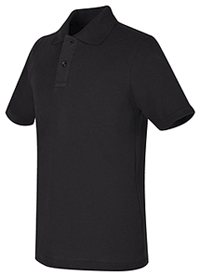 Real School Uniforms REAL SCHOOL Youth Unisex S/S Pique Polo Black (68322-RBLK)