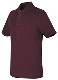 Real School Uniforms REAL SCHOOL Youth Unisex S/S Pique Polo Burgundy (68322-RBUR)