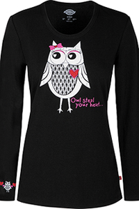 "Dickies Prints ""Owl Steal Your Heart"" Underscrub Tee (82739-OWLH) (82739-OWLH)"