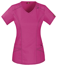 Dickies V-Neck Top Hot Pink (85812-HPKZ)