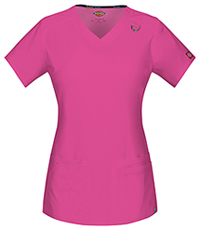 Dickies V-Neck Top Shocking Pink (85948A-SHP)