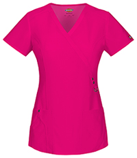 Dickies Mock Wrap Top Hot Pink (85956-HPKZ)
