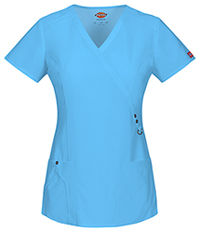 Dickies Mock Wrap Top Icy Turquoise (85956-ITQZ)