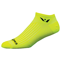 Swiftwick 1 Pair Pack No Show Sock Hi-Vis Yellow (ASPIREZERO-24Z)