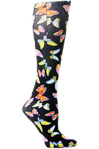 Celeste Stein Knee High 8-15 mmHg Compression Black Butterflies (CMPS-450)