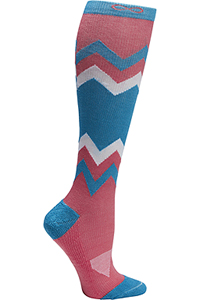 Cherokee 1 Pair Pack 15-20 mmHg Support Socks Coral Blue Chevron (KICKSTART-CBCHV)