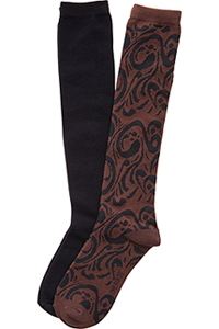 Cherokee 2pk Knee High Socks Assorted (LETSSWIRL-AST)