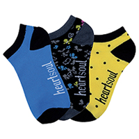 HeartSoul 1-3pr packs of No Show Socks Assorted (LINEOFFLIGHT-AST)